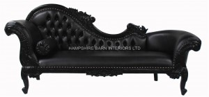 large ornate french chaise longue black painted black faux leather