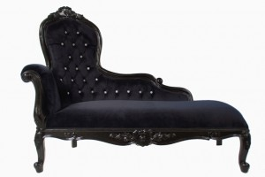 Brand new in Elegance chaise longue shown in black gloss frame with black velvet and crytsal buttons