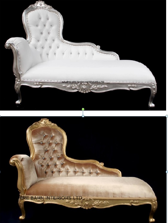 An Elegance Designers Chaise Longue ..available in SILVER or GOLD leaf with crystal buttons
