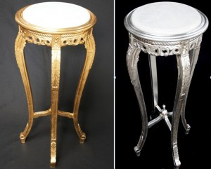 gold and silver leaf display plant stand