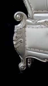 charles ornate bed in silver leaf frame with white faux leather with crystal buttoning