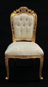 FRANCISCAN CHAIRS WITHOUT ARMS GOLD AND IVORY