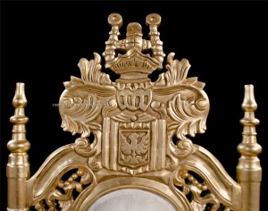 3 THRONE LARGE LION KING GOLD IVORY CRYSTALS