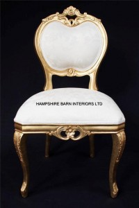 HEART ORNATE CHAIR GOLD IVORY CREAM DINING SIDE BEDROOM LOUNGE SHOP SALON DRESSING