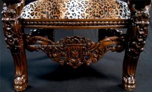 AA MAHOGANY LION KING THRONE CHAIR WITH LEOPARD ANIMAL PRINT FABRIC