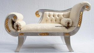 small silver and gold leaf chaise ornate
