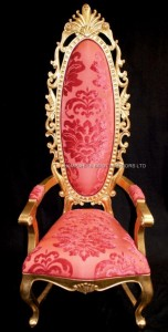TALL ELEGANT MILAN THRONE HALL CHAIR FEATURE GOLD LEAF CORAL RED FABRIC ORNATE