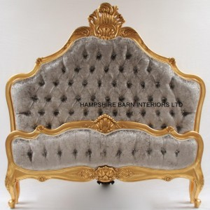 ORNATE GOLD LEAF BED WITH SILVER MERCURY CRUSHED VELVET AND CRYSTALS