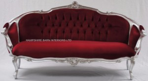 ORNATE ITALIAN STYLE 3 PIECE SUITE SET SOFA & 2 CHAIRS SILVER BURGUNDY DARK RED VELVET