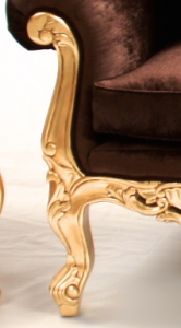 NEW ORNATE ANTIQUE STYLE GRANDE SOFA GOLD LEAF WITH MOCCA VELVET TEXTURE FABRIC