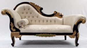 BLACK AND GOLD FRAME CHAISE LONGUE WITH IVORY CREAM FABRIC