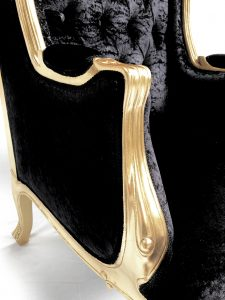 A GOLD ORNATE HIGH BACK PORTERS ARM CHAIR IN BLACK CRUSHED VELVET WITH CRYSTALS