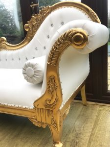 French Style Chaise Longue with gold leaf frame and white faux leather crystal buttoning