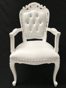 AA Franciscan Wedding or dining chair Gloss WHITE with white faux leather with crystal buttons