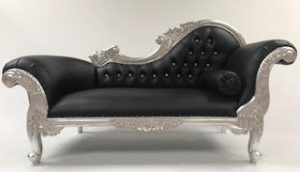 MED SILVER FRECH CHAISE LONGUE BLACK FAUX LEATHER CRYSTALS