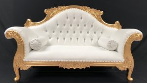CHARLES LOUIS CUDDLER LOVE SEAT CHAISE SOFA in GOLD LEAF frame with WHITE FAUX LEATHER AND CRYSTAL BUTTONS