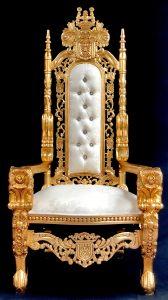Large Gold leaf flower carved throne