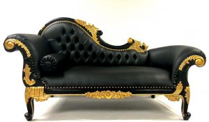 11 Beautiful Chaise Black & Gold Frame with BLACK FAUX LEATHER Fabric Medium Size