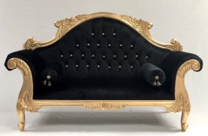CHARLES LOUIS CUDDLER LOVE SEAT CHAISE SOFA in GOLD LEAF frame withBLACK VELVET and CRYSTALS