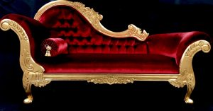 11 Beautiful Chaise Gold Leaf Frame with Red velvet Fabric Medium Size