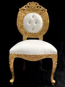 GOLD LEAF AVALON CHAIR WITH BRIGHT WHITE FAUX LEATHER AND CRYSTAL BUTTONS