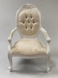 CHATSWORTH ANTIQUE WHITE CHATEAUX ARM CHAIR WITH IVORY CREAM FABRIC WITH CRYSTAL BUTTONING