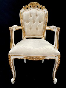 A A 1 Franciscan Wedding or dining chair WHITE with GOLD DETAILING with ivory cream damask fabric with crystal buttons