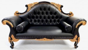 111 CHARLES LOUIS CUDDLER LOVE SEAT CHAISE SOFA in black frame with GOLD detailing upholstered in BLACK FAUX LEATHER