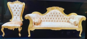 11AA MAYFAIR WEDDING SET - LARGE SOFA PLUS TWO THRONES - GOLD LEAF WITH BARLEY CRUSHED VELVET