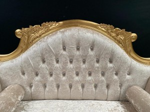 112 CHARLES LOUIS CUDDLER LOVE SEAT CHAISE SOFA in GOLD LEAF FRAME upholstered in IVORY CREAM CRUSHED VELVET WITH CRYSTAL BUTTONING
