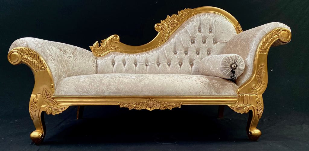 113 CHAISE HAMPSHIRE SOFA in GOLD LEAF FRAME upholstered in IVORY CREAM CRUSHED VELVET WITH CRYSTAL BUTTONING